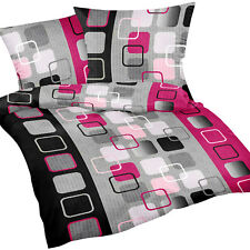 2tlg.Seersucker Sommer Bettwäsche 135x200cm 100% Baumwolle Viereck Effekt Pink