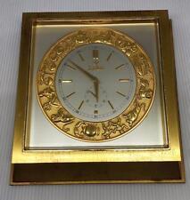 Zodiac Watch Ltd Brass Desk Clock 1950s Swiss Made Rare Works Nice!