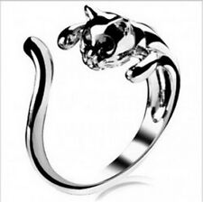 Exquisite Womens Jewelry Silver Cute Plated Cat Shaped Ring With Crystal Eyes