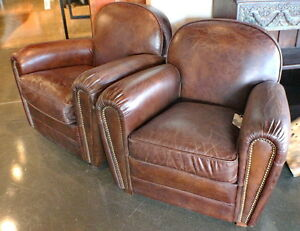 "Set of two 33"" W Club armchair vintage cigar brown leather Nailhead wood frame"