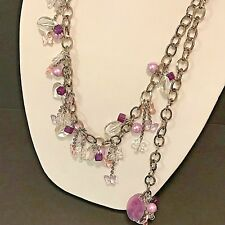 Angelo Marani Italy XL Chain Belt or Necklace Dangle Charms Purple Vintage