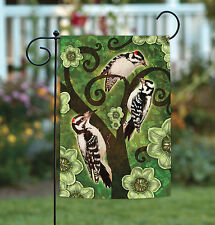 New Toland - Downy and Hairy Woodpeckers - Colorful Bird Flower Garden Flag