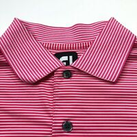 FootJoy FJ Medium Mens Golf Short Sleeve Button Polo Shirt Pink