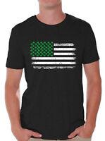Shamrock Flag Shirt for Men St. Patrick's Day Shamrock T-Shirts Irish Gifts