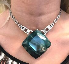 New Chistick's Custom Huge 560 ct Grandidierite, 3+ ct diamond Platinum necklace