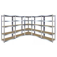 5 Bay Galvanised Corner Shelvingracking Unit Garage Storage Shelves 1800mm H