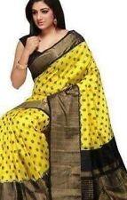 Vintage Indian Jute Silk Sarees Traditional Fashion Sari Printed Designer Ethnic