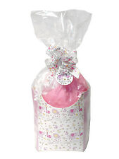 POP UP GIFT BOX KIT - Box, Tissue, Cello Bag, Bow & Tag - PINK & WHITE BABY GIRL