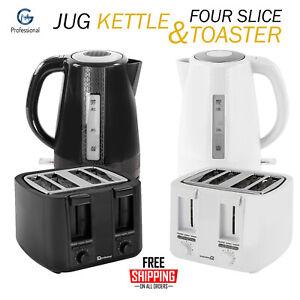 4 Slice Wide Slot Toaster & 1.7 Cordless Electric Kettle Kitchen Set Black White