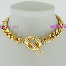 Women Men Solid 18k Yellow Gold GF Bracelet Bangle Curb Chain Ring Toggle Clasp