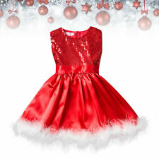 Girls Sequin Princess Red Dress Party Christmas Toddler Baby Sleeveless New do