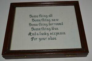 Vintage White Wedding Sixpence Gift Wooden Frame Box Photo Album Storage RARE