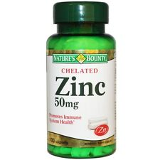 NATURE'S BOUNTY ZINC CHELATED PROMOTES IMMUNE SYSTEM HEALTH 100 Caplets 50mg
