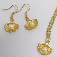 DECO SIRENA Shell e perla pendente charm PLT ORO E150 Orecchini Set Classico