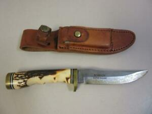 "Vintage Schrade USA 153UH Stag Handle Uncle Henry 5"" Blade Leather Sheath"