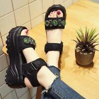 Womens Sandals Shoes Creeper Platform Rhinestone Open Toe High Heel Roman Casual