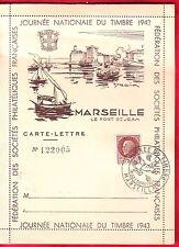 ENTIER POSTAL JOURNEE DU TIMBRE 1er JOUR 1943  MARSEILLE