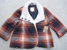 NEW* Billabong L Shade of Love Winter COAT JACKET TOP Wool Blend $100 Orange