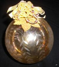 """ETCHED GLASS 4""""HANGING GLASS BALL MADE IN INDIA FOR KATHERINE'S COLLECTION"""