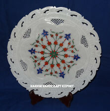 Marble Round Plate Semi Marquetry Gemstone Framing Restaurant Table Decor Arts