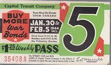 Trolly/Bus pass capital Transit Wash. DC--1944 War Bonds-----74