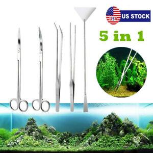 5 in 1 Aquarium Aquascaping Kit Aquatic Plant Tools Tweezers Scissor Spatula US