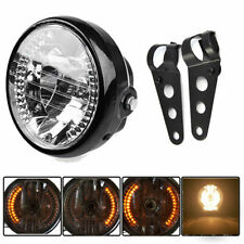 "Universal 6.5"" H4 Headlight LED Turn Signal for Cafe Racer Custom+Black Bracket"