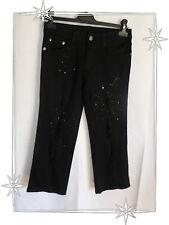 Pantalon Pantacourt Fantaisie Noir Strass Déchiré Sismix Taille 34 - 156 cm