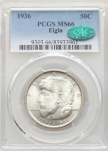 1936 50C Elgin MS66 PCGS. CAC