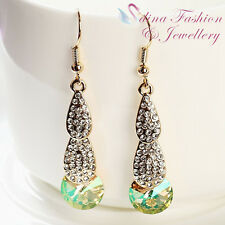 18K Gold Plated Made With Swarovski Crystal Teardrop Round Cut Dangle Earrings