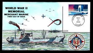 "1¢ WONDER ~ 2004 COLLINS HAND PAINTED FDC W/ ""WORLD WAR II MEMORIAL"" ~ T54"