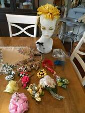Lot of vtg millinery Nos net hats corsages flowers feathers