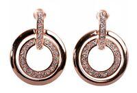 Swarovski Element Crystal Circle Mini Pierced Earrings Rose Gold Authentic 7137v