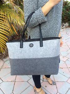 Tory Burch Ashley Shopper Graphite Gray/Light Gray Felt/Leather Tote