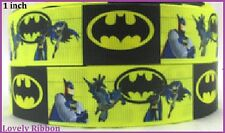 1 metre BATMAN, Hero, FREE POST, 25mm, Ribbon, 1 inch,Grosgrain, BUY 5m GET 6