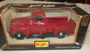 🚘New In Box Maisto 1947 Red F-1 Ford Pickup Truck 1:25 Scale