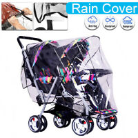 Clear Twin Baby Kids Universal Pushchair Double 360 Stroller Rain Cover Shield