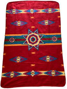 Native American Fleece 59x38 Throw Blanket St. Labre Indian School Aztec Navajo