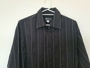Peter Jackson Mens XL Long Sleeve Button Up Shirt  Black White Striped Collared