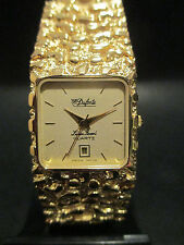 B4 New HOT Square Dufonte by Lucien Piccard Gold Nugget Design Band Watch Swiss