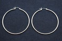 2mm X 55mm Plain Polished Round Hoop Earrings Real 925 Sterling Silver