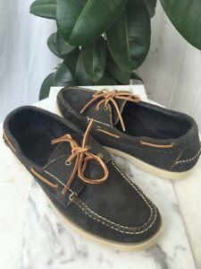 RED WING Men's Loafer- Grey-Blue Suede Boat Deck Shoe Slip On- Size 10 1/2 E