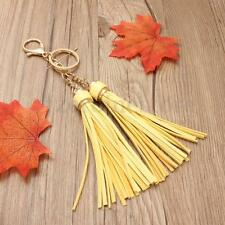 DOUBLE TASSEL BAG CHARM KEYRING GOLD YELLOW