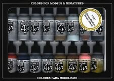 Metallic Effects Colors: 16 Paint Set for Model & Hobby (Vallejo 71181)