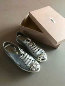 Miu Miu Sneakers Crystal Toe Silver Metallic - 39 EU
