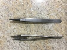 Lot Of (2) Techni-Tool 2ACF Tweezer Stainless Steel Plastic Flat/Round Tip