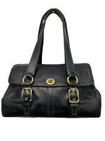 COACH 11546 Hampton Leather Large Flap Satchel Turnlock Shoulder Bag Black