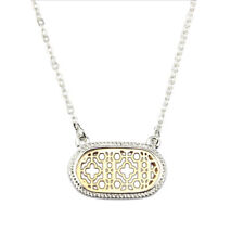 New Cut Off Gold Filigree Clover Statement Hollow Floral Pendant Chain Necklace