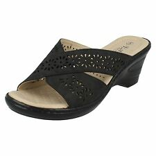 Eaze F3104 Ladies Black Synthetic Cushioned Wedge Sandals