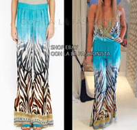 SALE! CAMILLA FRANKS KAFTAN DESIGNER NEW SILK FLARE  MAXI PANTS RESORT CRUISE